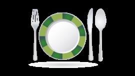Valentina Funghi Icona degustazione con piatto, forchetta, coltello e cucchiaio.